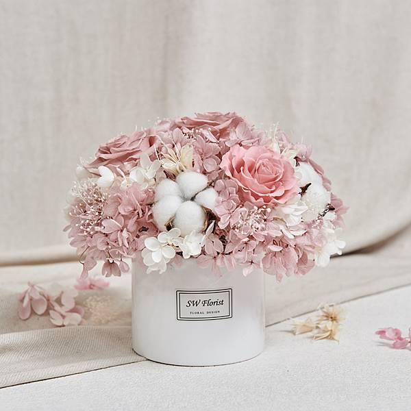 經典款不凋花桌花 永生花 乾燥花 桌花設計 藕荷 圓形 大型桌花 白盆