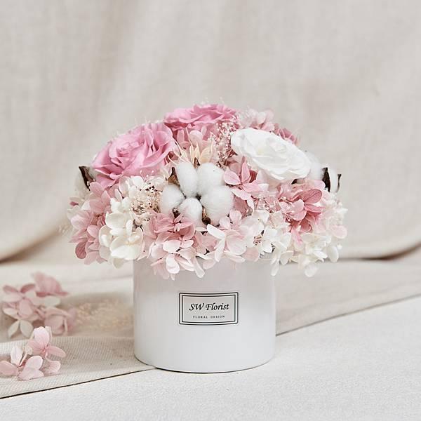 經典款不凋花桌花 永生花 乾燥花 桌花設計 裸粉 圓形 大型桌花 白盆