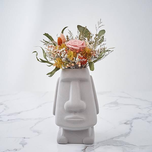 乾燥花桌花 桌花設計 不凋花 裸粉田園風 摩艾造型(灰色) 大型桌花