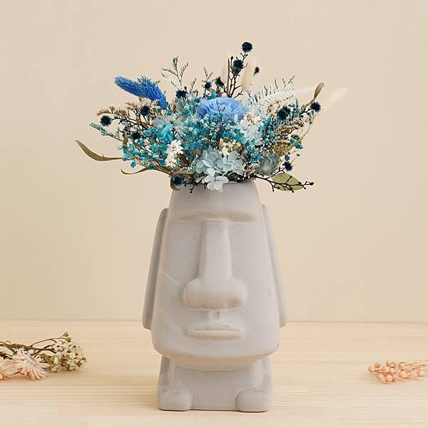 永生花盆栽 桌花設計 不凋花 蔚藍海洋風 摩艾造型(灰色) 大型桌花