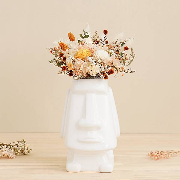 永生花盆栽 桌花設計 不凋花 初戀的滋味 摩艾造型(白色) 大型桌花