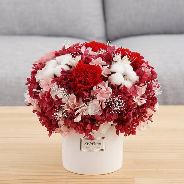 母親節推薦款式 紅通通喜孜孜 圓形 大型桌花 白盆