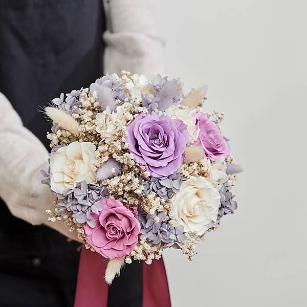 圓形-不凋花婚紗捧花 #經典浪漫奢華紫