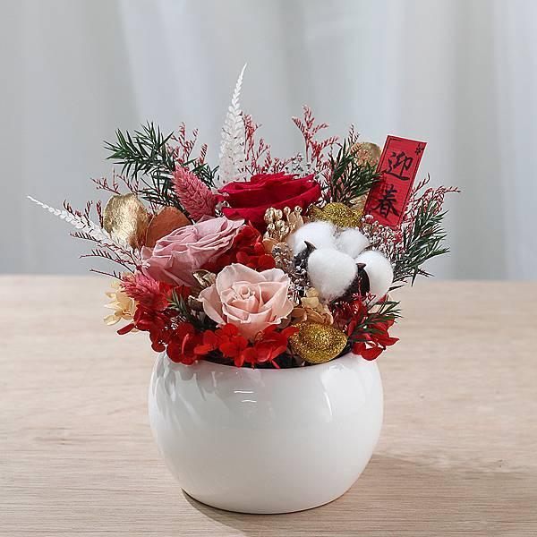 紅粉香檳色-開幕賀禮-財運亨通-過年送禮-永生花盆栽-大型