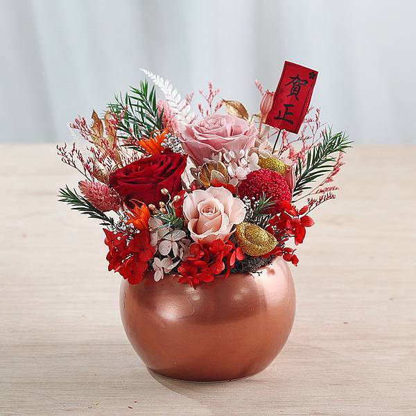 艷紅香檳粉-開幕盆栽-鴻運昌隆-新年賀禮-永生花盆栽-大型