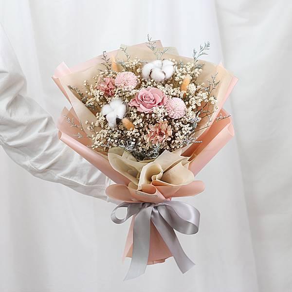 |自然網美風格-求婚乾燥花束-永生玫瑰-草莓牛奶色-大型|