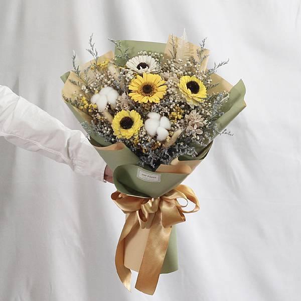 |太陽神的祝福-向日葵花束-畢業乾燥花-教師節禮物-大型|