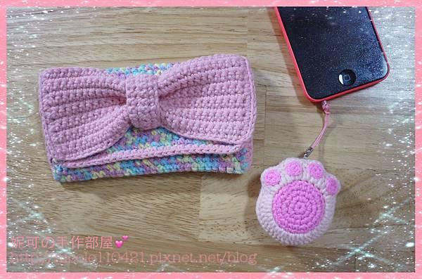 蝴蝶結手機袋和貓掌吊飾-1