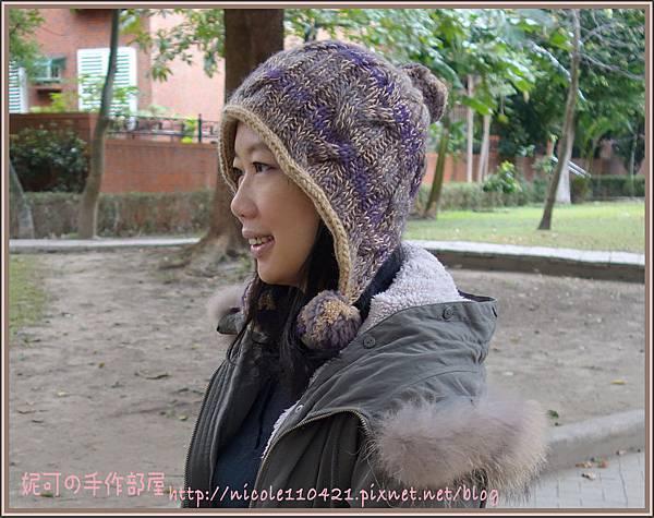 麻花護耳毛球帽-2