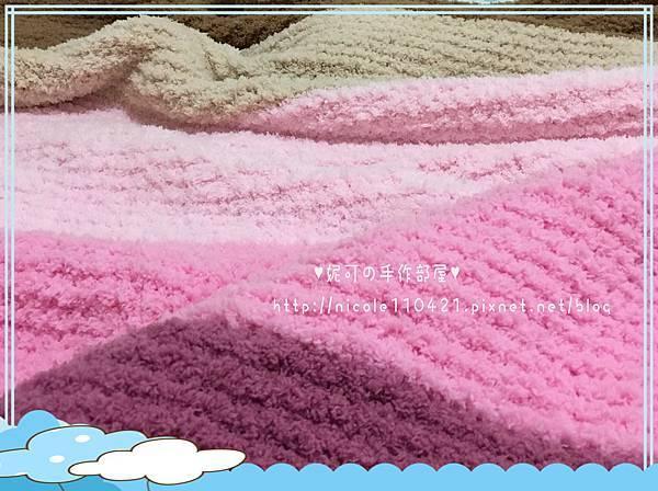 彩色粉粿毛絨絨小蓋毯-1