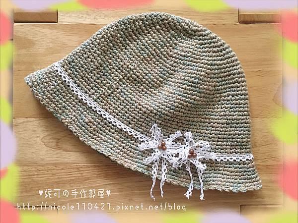 棉麻鉤針遮陽帽-1