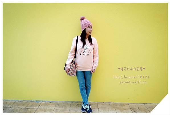 粉紅球球毛帽-1