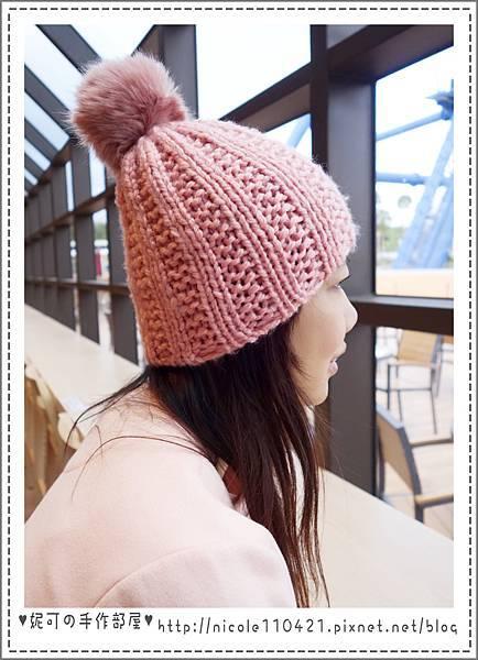 粉紅球球毛帽-3