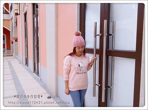 粉紅球球毛帽-4