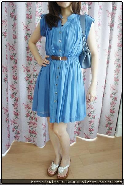 (已售出)韓版天空藍皮帶洋裝售1480元