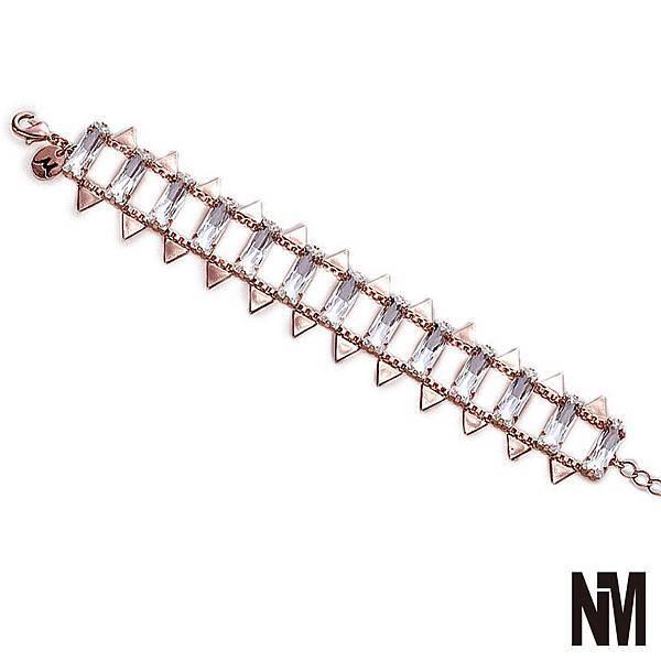 長方水晶軌道三角片玫瑰金手鍊