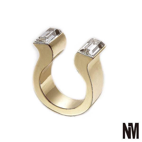 馬蹄對稱長方水晶開口金色戒指