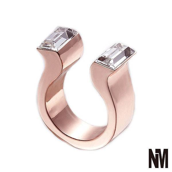 馬蹄對稱長方水晶開口玫瑰金戒指