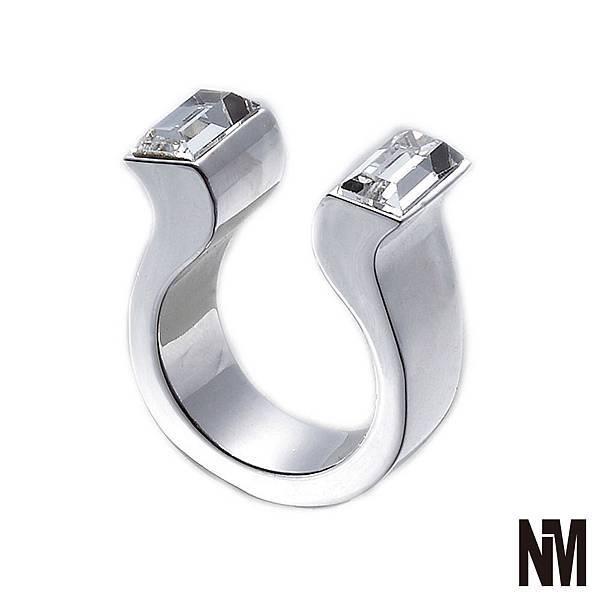 馬蹄對稱長方水晶開口銀色戒指