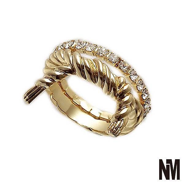 雙環繩結水鑽金色戒指
