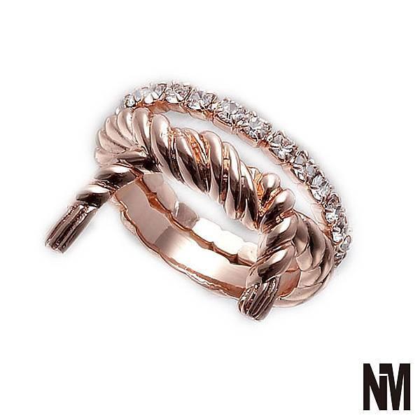 雙環繩結水鑽玫瑰金色戒指