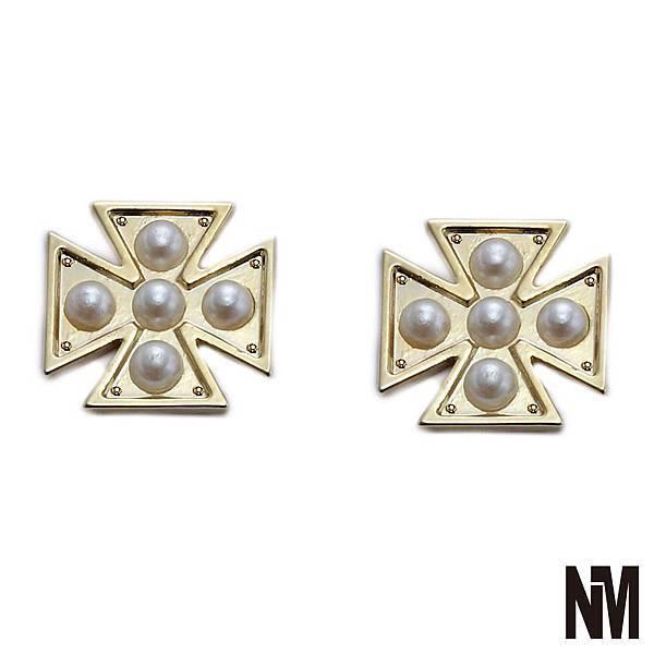 個性十字架珍珠耳環