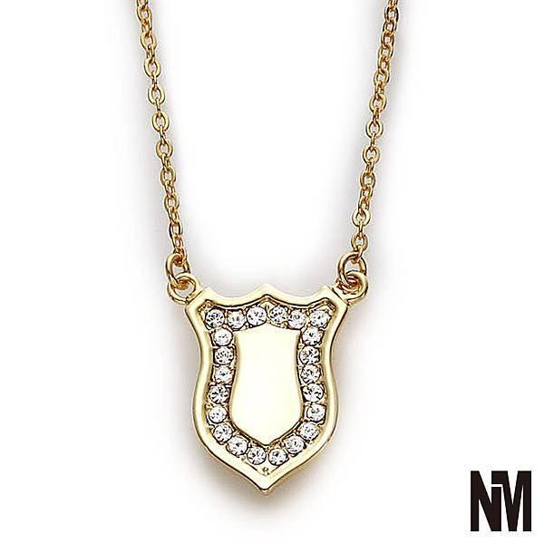 盾牌水鑽金色項鍊