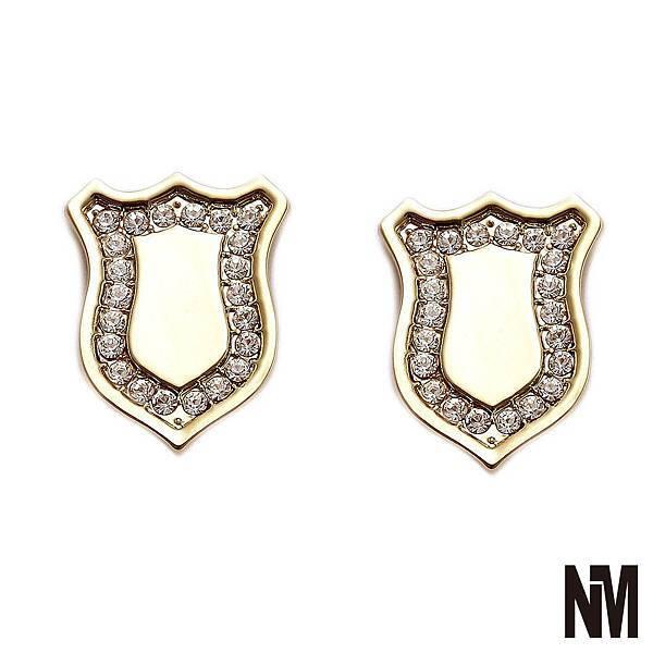 盾牌水鑽金色耳環