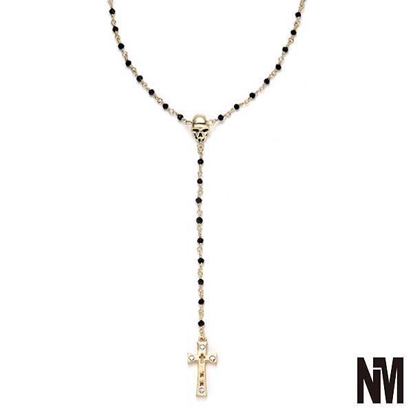 骷髏宗教十字架黑金長項鍊