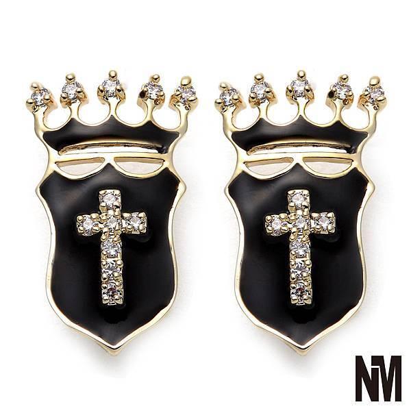 皇家盾牌環繞水晶耳環