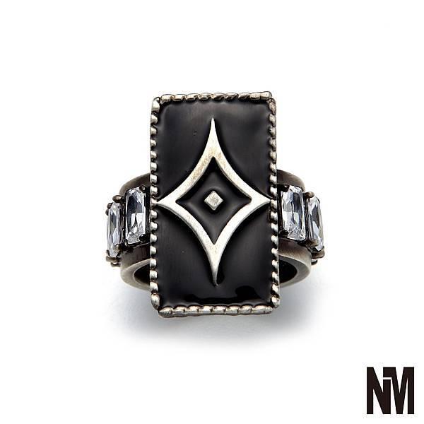菱形環繞水晶古銀戒指