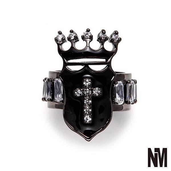 皇家盾牌環繞水晶黑戒指