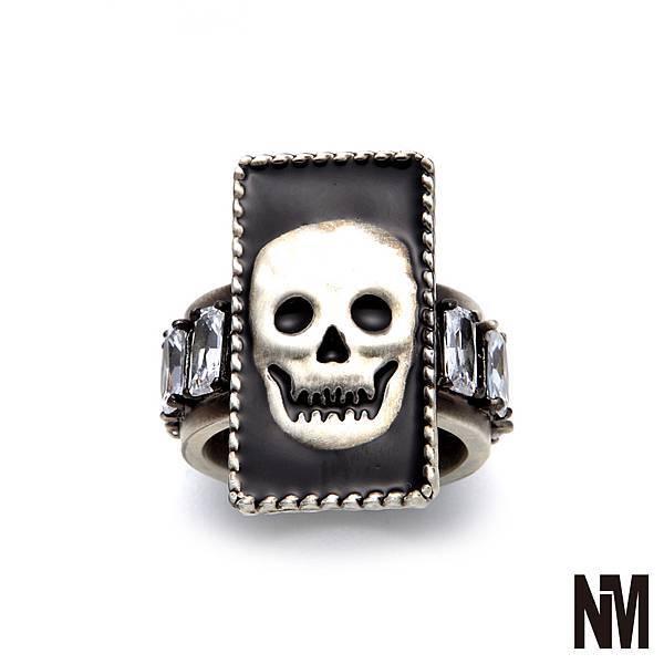 骷顱頭環繞水晶古銀戒指