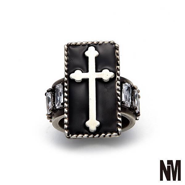 十字架環繞水晶古銀戒指