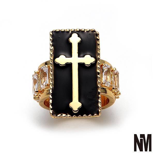 十字架環繞水晶金戒指