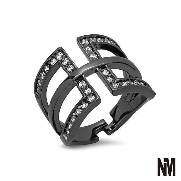 鑲鑽矩形中線黑色戒指