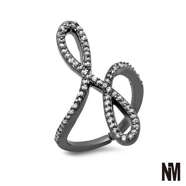 圓弧交疊鑲鑽黑色戒指