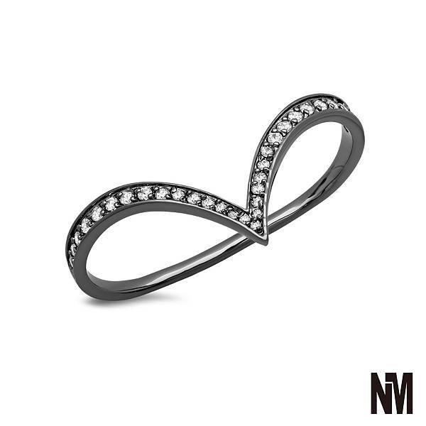 尖弧形跨雙指鑽黑色戒指