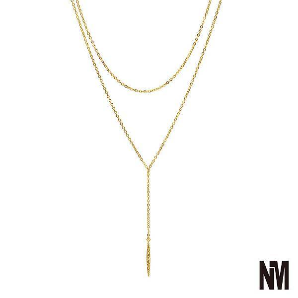 層次鑽飾金色細長項鍊