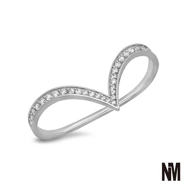 尖弧形跨雙指鑽白金戒指