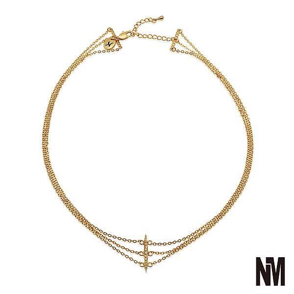 三層鑲鑽金色鎖骨短鍊