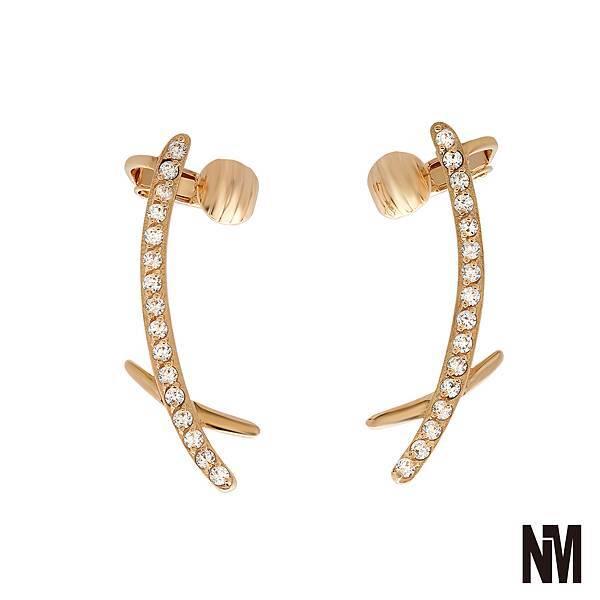 矩形層次感鑲鑽金色耳環