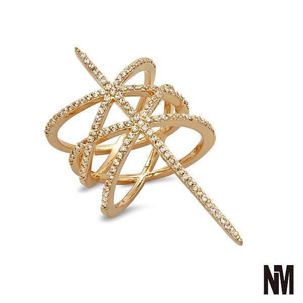 雙平行交錯線鑽金色戒指