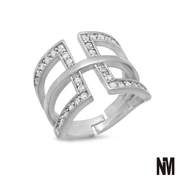 鑲鑽矩形中線白金戒指