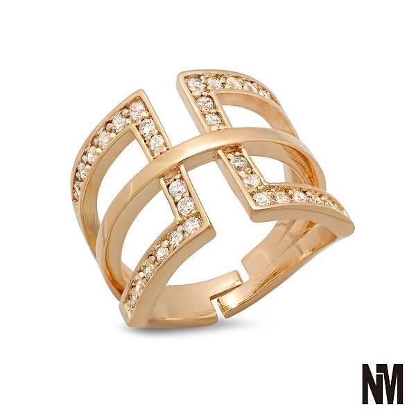 鑲鑽矩形中線金色戒指