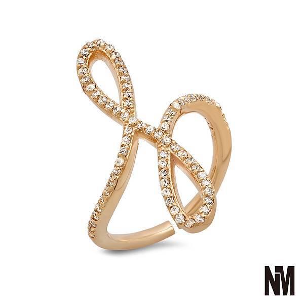 圓弧交疊鑲鑽金色戒指