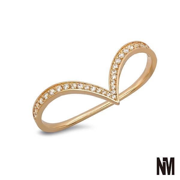 尖弧形跨雙指鑽金色戒指