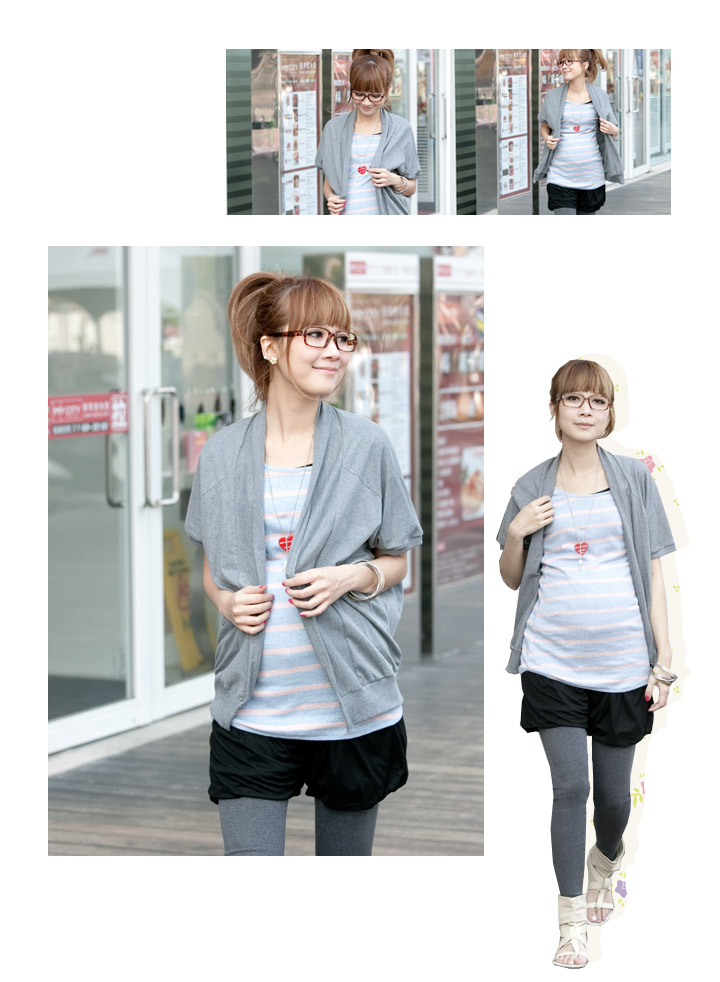 夏日純棉五分袖外罩衫+超修飾花苞縮擺四分短褲