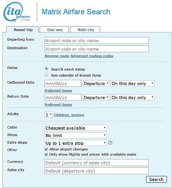 機票-ITA software Matrix