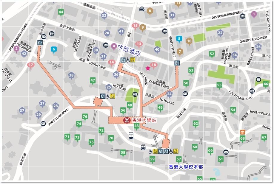 香港大學站街道圖